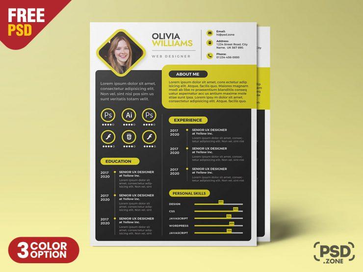 A4 Creative Resume CV PSD Template