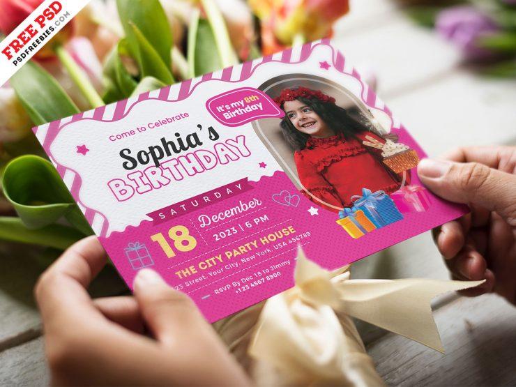 Kids Birthday Party Invitation Card Design Template