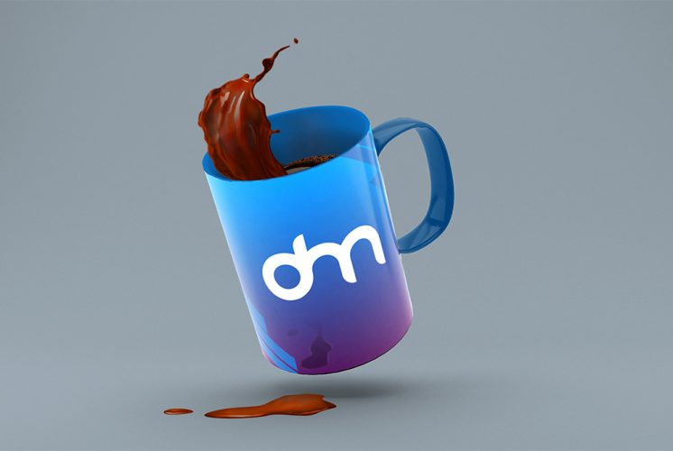 Coffee Mug Splash Mockup PSD