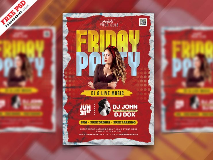 Friday Night Party Flyer Design Template