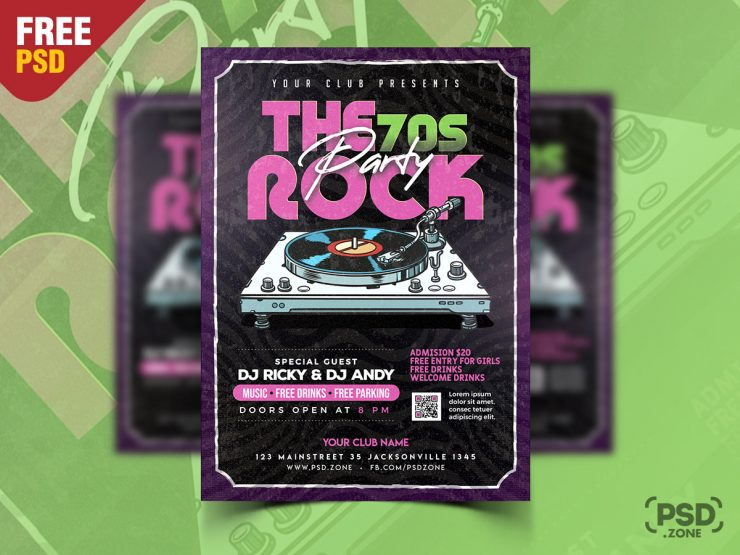 Retro Party Flyer Template PSD