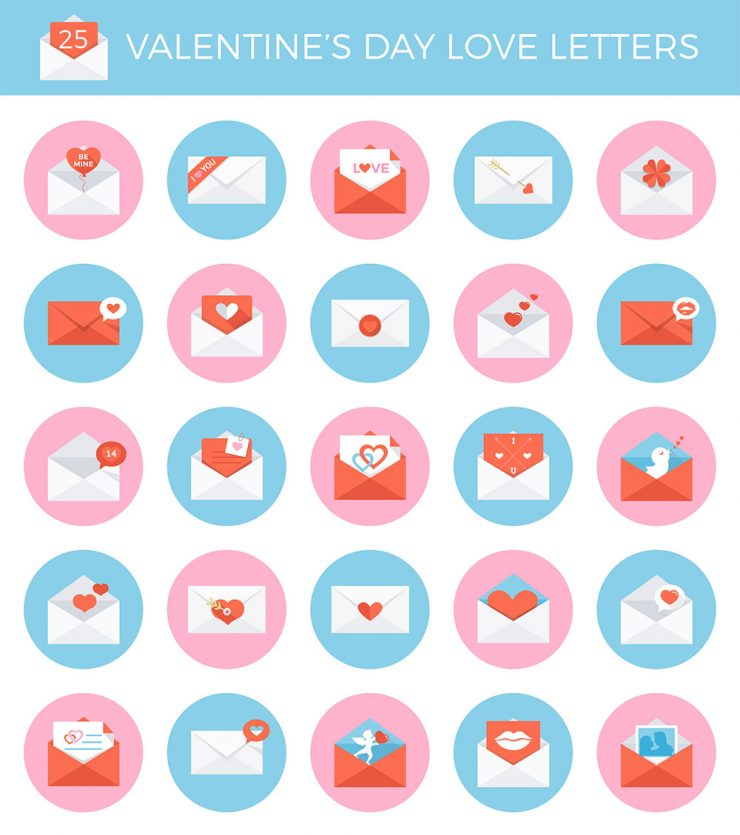 25 Valentine's Day Envelope Icon Set Free PSD