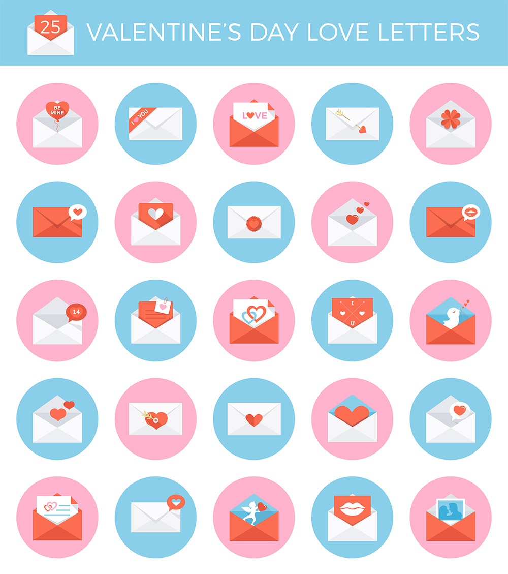 25 Valentine's Day Envelope Icon Set Free PSD