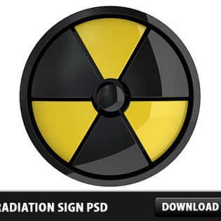 3D Radiation Sign Icon PSD