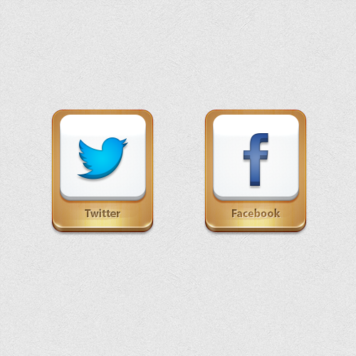 3D Shiny Twitter And Facebook Icons PSD