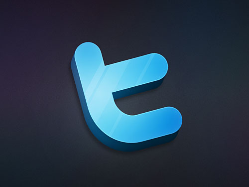3D Twitter Icon PSD