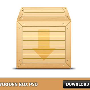 3D Wooden Box Free PSD