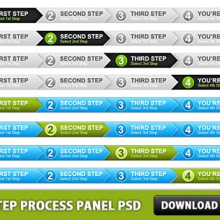 4 Step Process Panel Free PSD