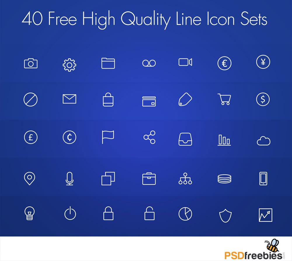 40 Free High Quality Line Icon Set PSD