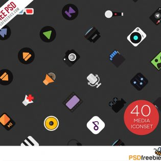 40 Music and Media Icon set Free PSD