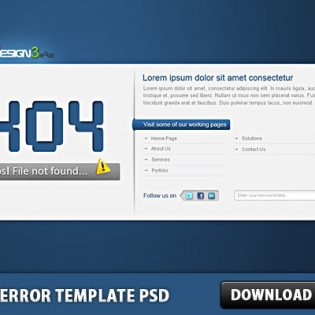 404 Error Template Free PSD Page