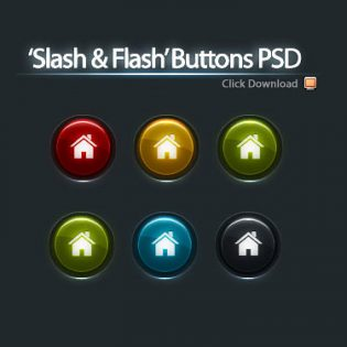 5 Color Buttons PSD