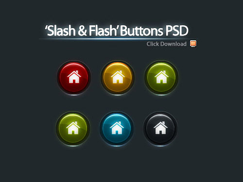 5 Color Buttons PSD Web Resources, Web 2.0, Layered PSDs, Icons,