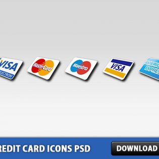 5 Credit Card Icons Free PSD