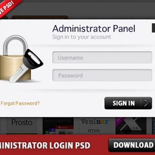 Free Administrator Login Panel PSD file