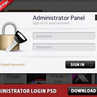 Free Administrator Login Panel PSD file