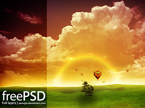 Amanecer Free PSD Tree PSD Photo Manipulation Nature Layered PSDs Baloon