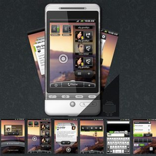 Android Phone With GUI PSD Set