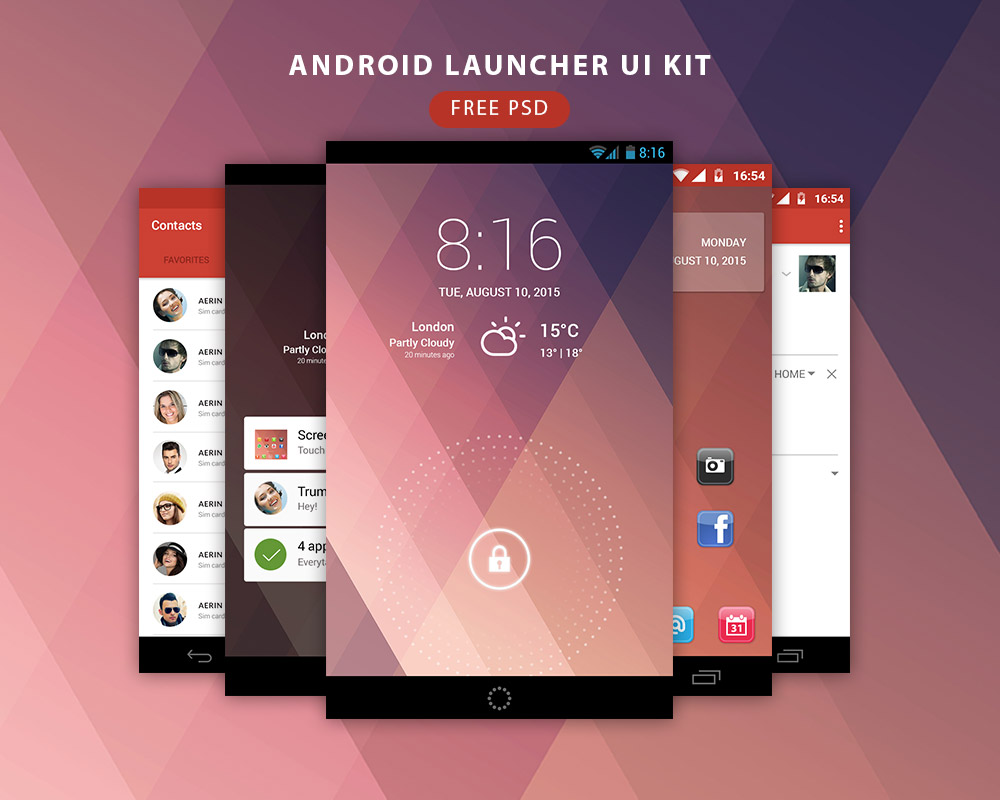 Android Launcher UI Kit Free PSD
