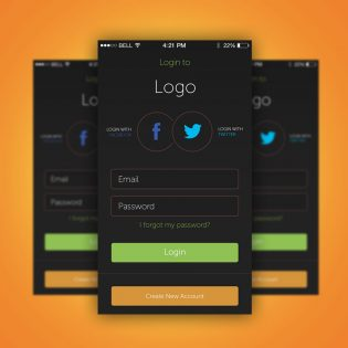 App Login Screen Free PSD