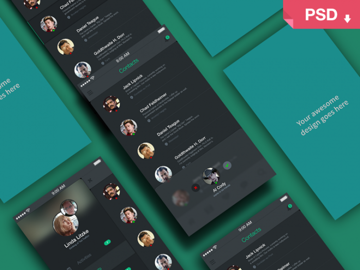 App Screens Perspective Mockup PSD Freebie