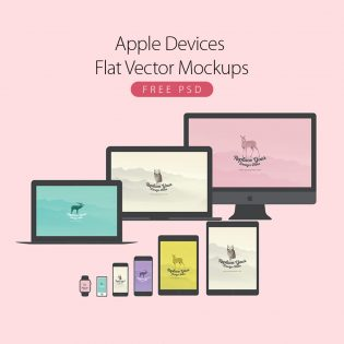Apple Devices Flat Vector Mockups Free PSD