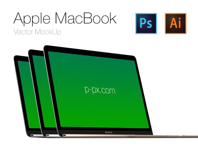 Apple New Macbook Angled Mockup PSD
