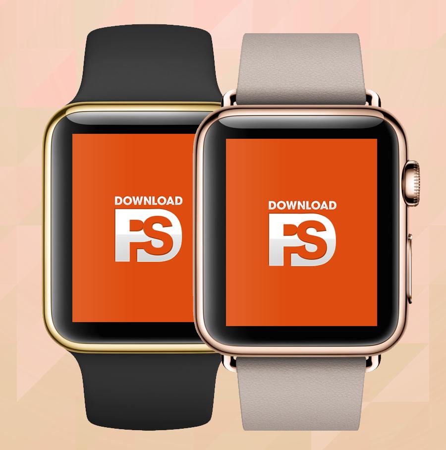 Apple Watch Gold Mockup PSD