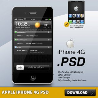 Apple iPhone 4G Free PSD