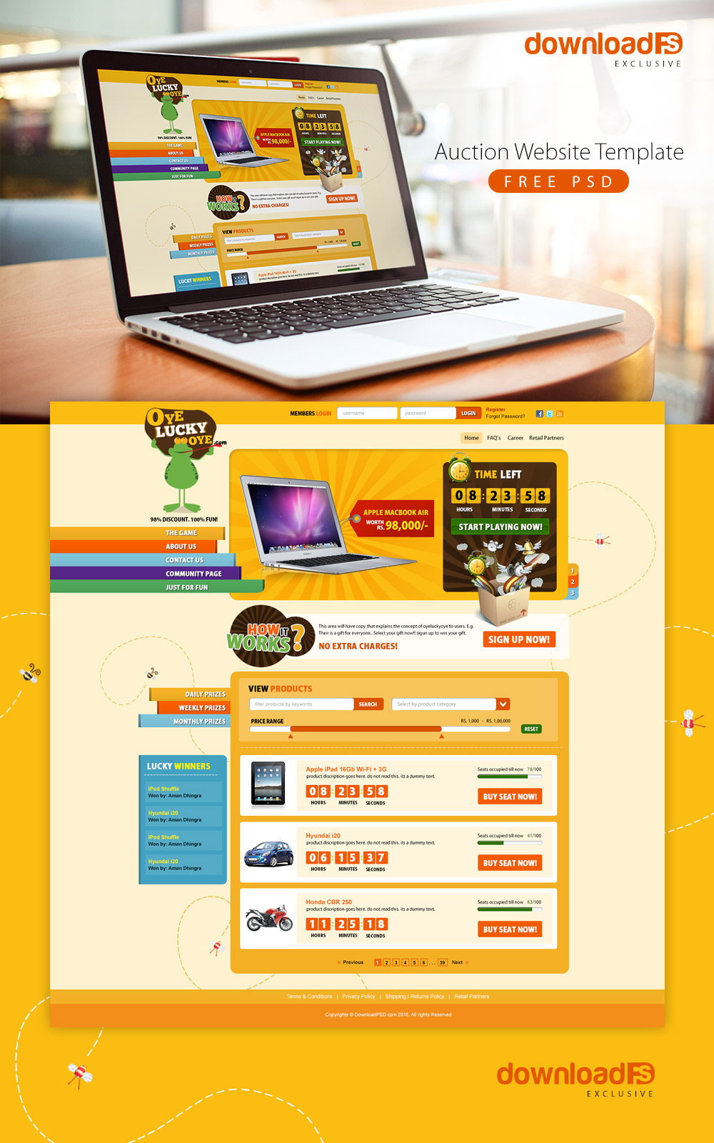 Auction Website Template Free PSD Download - Download PSD