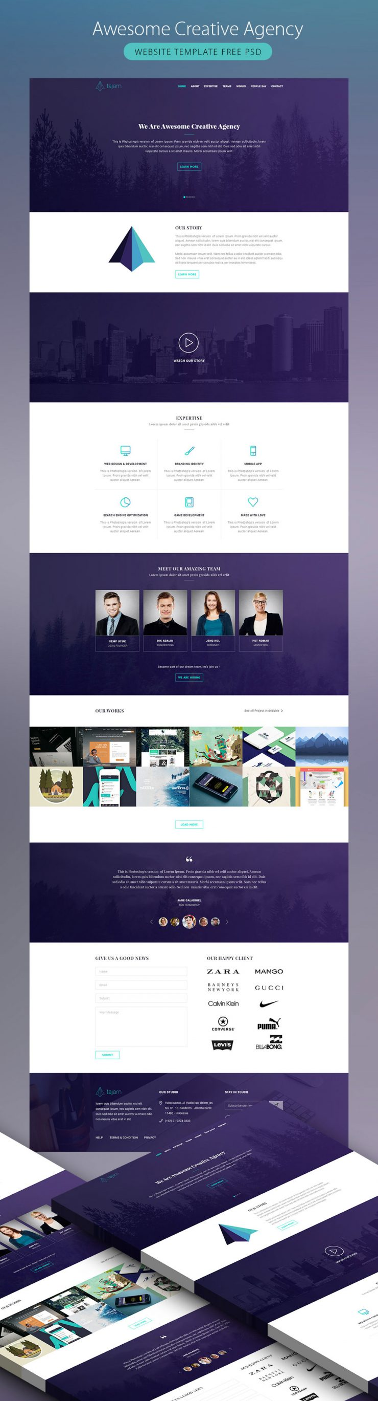 Awesome Creative Agency Website Template Free PSD