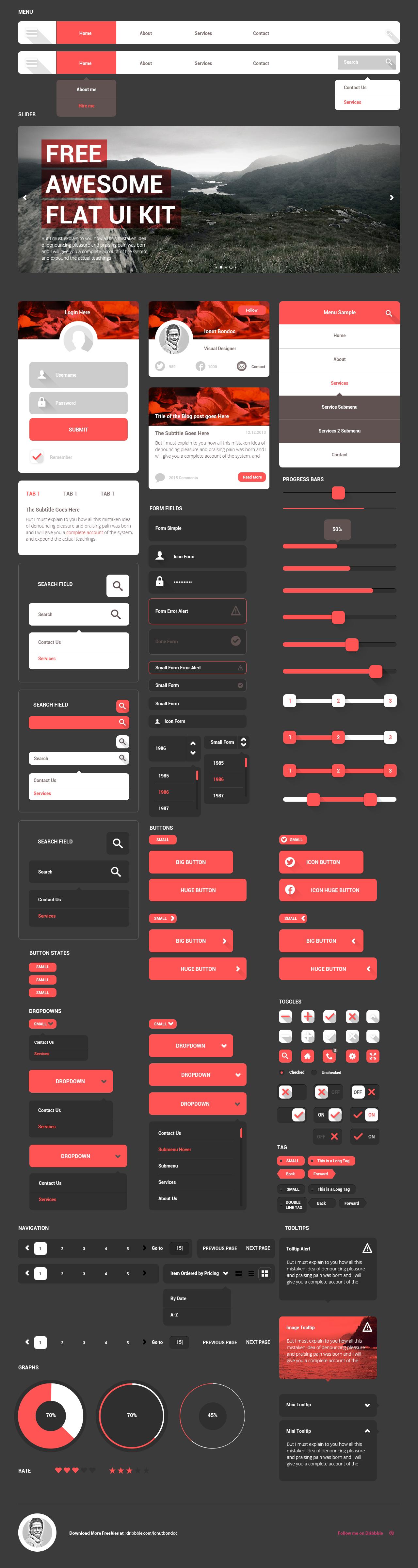 Awesome Flat UI Kit Freebie PSD