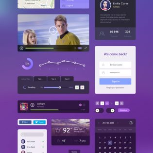 Awesome Flat Web UI Elements Kit PSD
