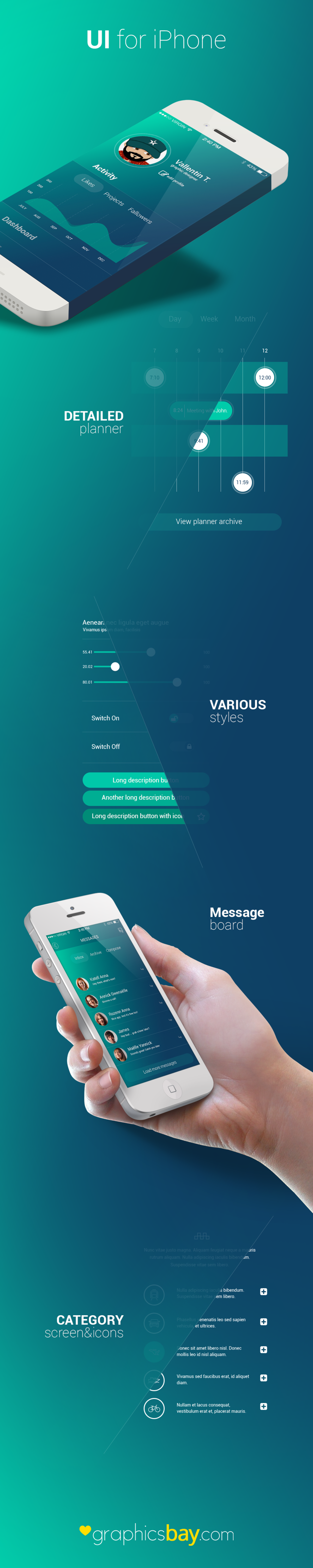 Awesome iPhone Activity Application UI PSD