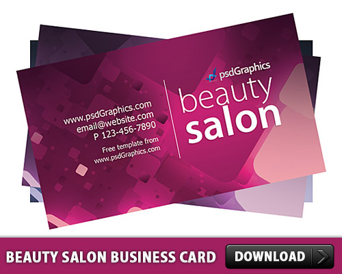 Beauty Salon Business Card Template Free PSD Download