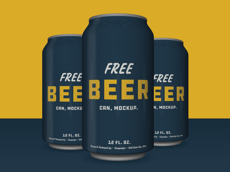Beer Can Mockup Free PSD