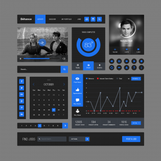 Behance Style Flat UI Elements Kit PSD