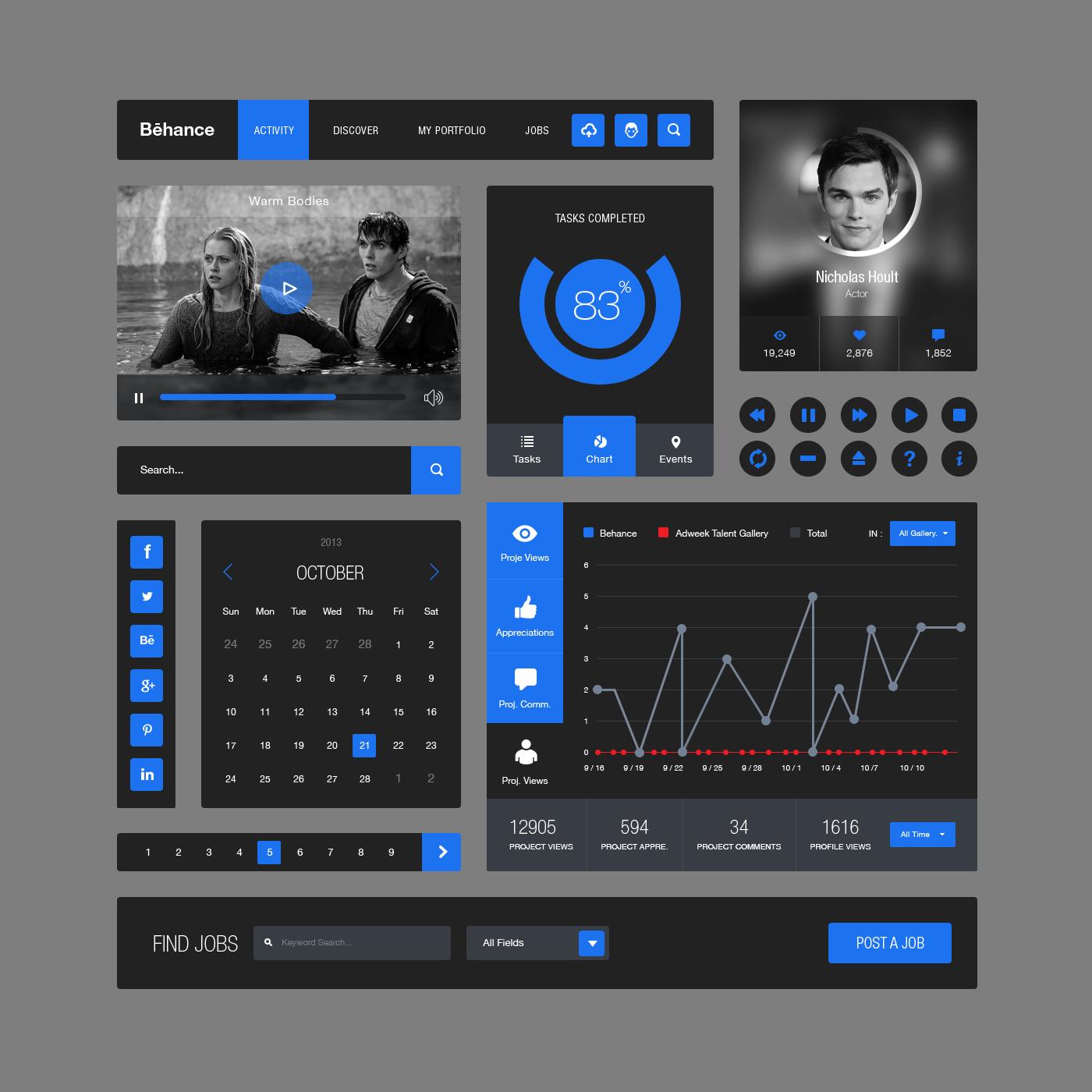Behance Style Flat UI Elements Kit PSD