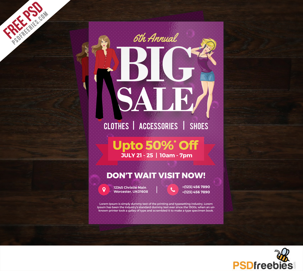 colorful shopping sale flyer free psd template download