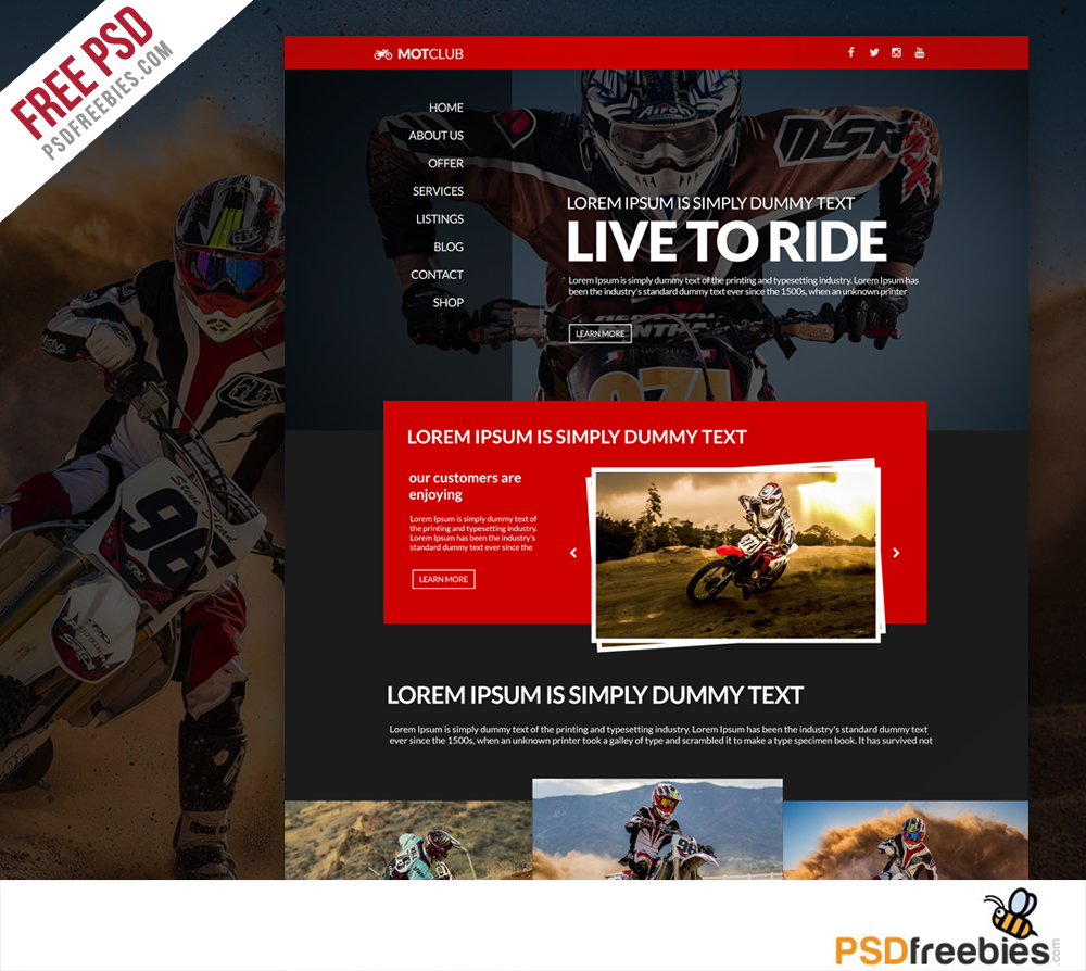 bikers club website free psd template download download psd. Black Bedroom Furniture Sets. Home Design Ideas