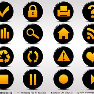 Black And Orange Glossy Free PSD Icon