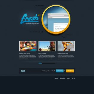 Black Fresh App Website Template PSD