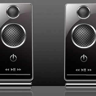 Black Shiny Twin Speakers PSD
