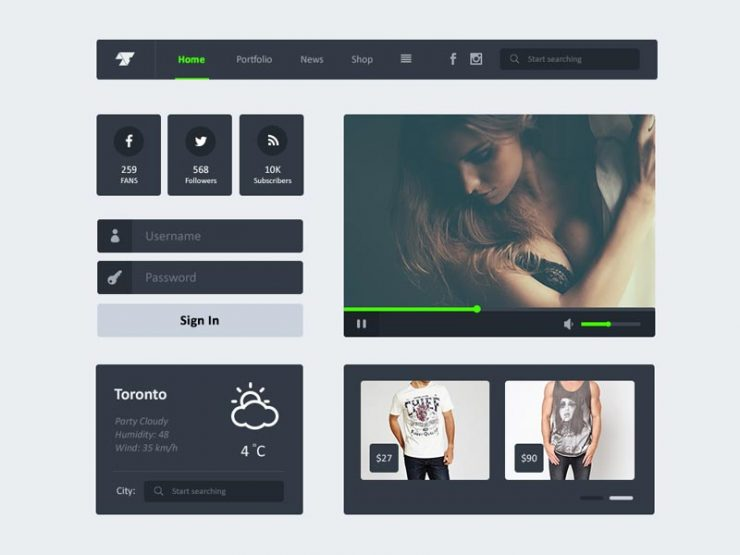 Black Widget Flat UI Kit Freebie PSD widgets, Web Resources, Web Elements, Web Design Elements, Web, weather, Video Player, User Interface, ui set, ui kit, UI elements, UI, Social Icons, Resources, Navigation, Navi, Login Panel, Interface, Header, GUI Set, GUI kit, GUI, Graphical User Interface, Freebie, Free PSD, Flat, Elements, Design Resources, Design Elements, Dark, Black,