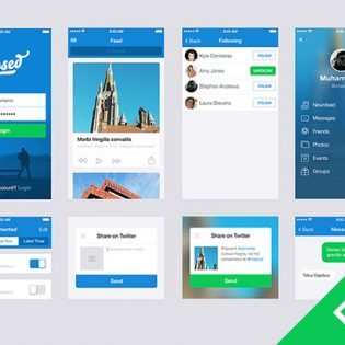 Blue App UI Elements Kit PSD