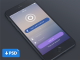 Blue Login Screen Flat UI PSD