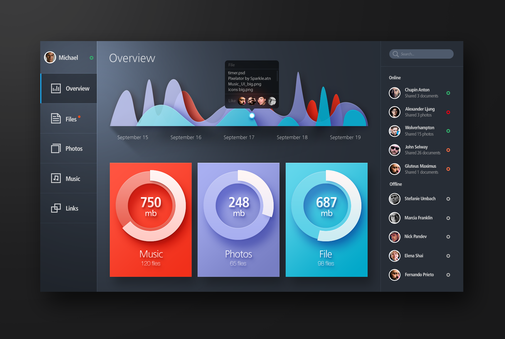 Bold Color Flat Web UI Elements Kit Download - Download PSD