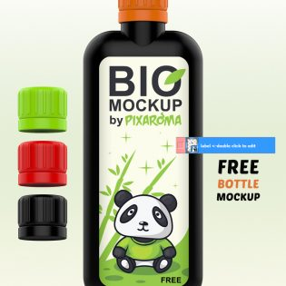 Bottle Mockup PSD Freebie