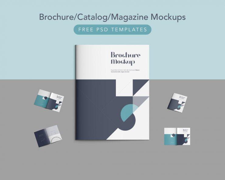 Brochure Catalog Magazine Mockups Free PSD Templates