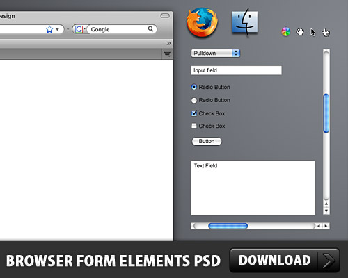 Browser Form Elements Free PSD www, Web Resources, Web Elements, Text Fields, Select Items, Scrollbar, Scroll Bar, Resources, Psd Templates, PSD Sources, psd resources, PSD images, psd free download, psd free, PSD file, psd download, PSD, OSX, Menu, Mac, Layered PSDs, Icon PSD, Hand Cursor, GUI, Free PSD, Free Icons, Free Icon, Form, Firefox, Finder, Editable PSD, Editable, Drop Down Menu, Drop Down, download psd, download free psd, Customizable PSD, Customizable, Cursor, Check Boxes, Buttons, Browser, Apple,
